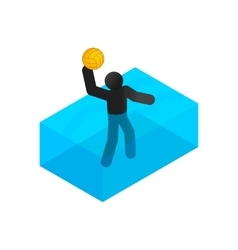 Swimmer playing water polo isometric 3d icon vector