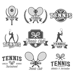 Tennis sports logo label emblem design elements vector image