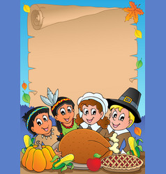 thanksgiving theme parchment 5 vector image