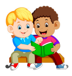 Two boys reading book on bench vector