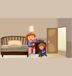 two girls in bedroom vector image