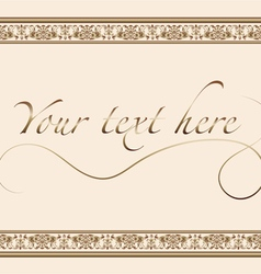 Vintage greeting card with gold ornament vector image