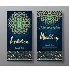 Wedding invitation card with arabic mandala vector