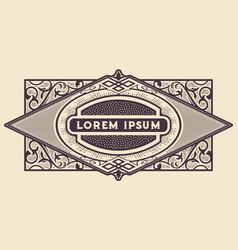 Western frame border vintage label hand drawn vector