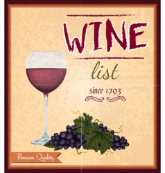 Wine list retro poster vector