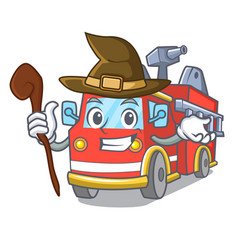 Witch fire truck mascot cartoon vector