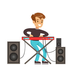 Young boy playing electric piano colorful vector