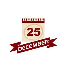 25 december calendar with ribbon vector