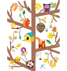 Autumn tree with animals flat vector image vector image