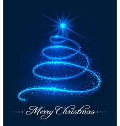 Christmas tree background with stars trail vector