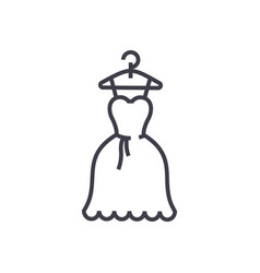 dress wedding ball gown line icon sign vector image