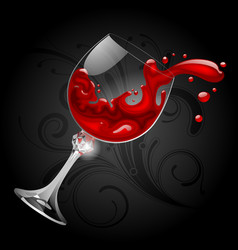 falling transparent glass with red wine on black vector image