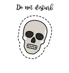 fashion patch element skull vector image