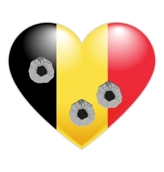 Flag of Belgium Belgian Heart pierced by bullets vector image