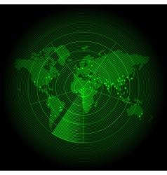 green world map with a radar screen vector image