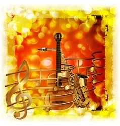 treble clef and a saxophone guitar bright vector image vector image
