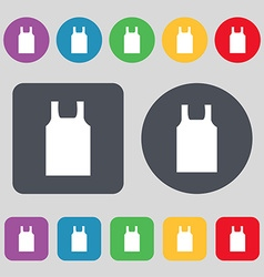 Working vest icon sign A set of 12 colored buttons vector image
