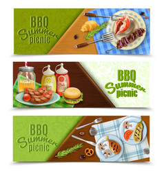 bbq summer picnic banners set vector image vector image
