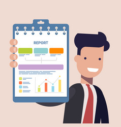 businessman or manage keep in hands clipboard for vector image vector image