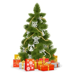 Christmas tree with paper decorations vector
