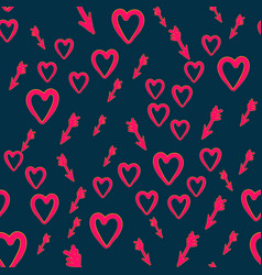 heart with cupid arrows handdrawn seamless pattern vector image vector image