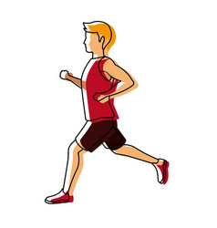 Running man in red jersey profile side view vector