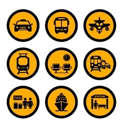 social transport yellow icons vector image vector image