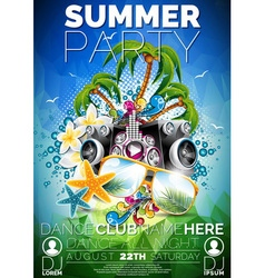 Summer Beach Party Flyer Design with speakers vector image vector image