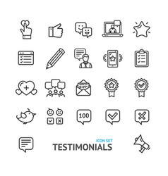 testimonial feedback and review signs black thin vector image
