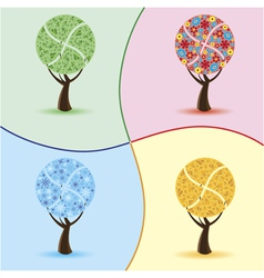Art trees four seasons vector