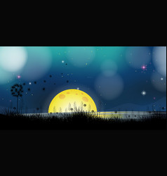 background scene with fullmoon at the lake vector image