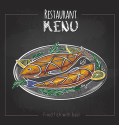 Chalk drawing menu design fried fish vector