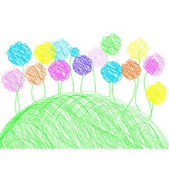 Childish drawing - background template vector image vector image