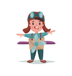 cute happy little boy in pilot costume playing vector image