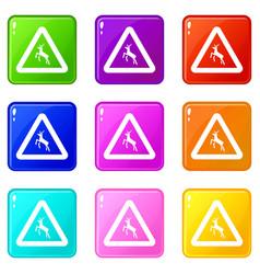 Deer traffic warning sign icons 9 set vector