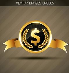 dollar sign on golden label vector image