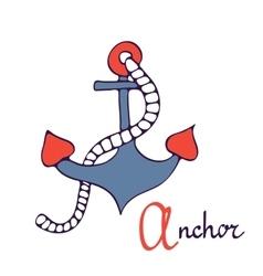 Nautical anchor A is for Anchor vector image