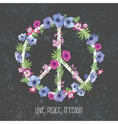 Peace hippie symbol with flower on the white vector