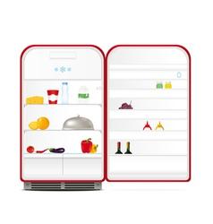 Red retro fridge vector image vector image