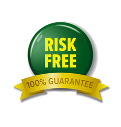 risk free label in green and yellow colors vector image vector image