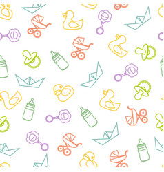 seamless pattern of baby icons and symbols vector image vector image