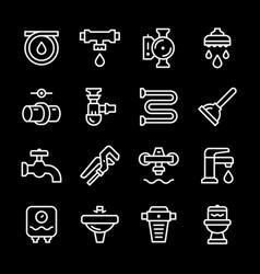 Set line icons of plumbing vector