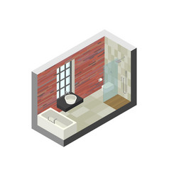 bathroom in isometric view vector image vector image