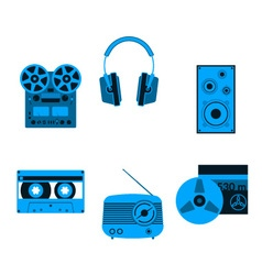 Blue music icons vector image vector image