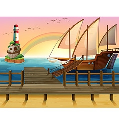 Boat and pier vector image vector image