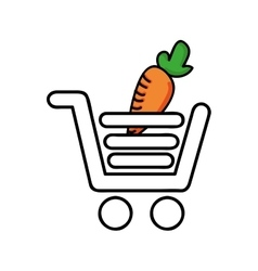 carrot in shopping cart isolated icon design vector image vector image