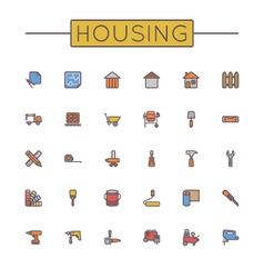 Colored Housing Line Icons vector image