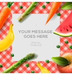 Fresh vegetables and fruits on the tablecloth vector image vector image