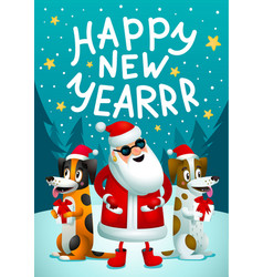 Happy new year santa claus and 2 funny dogs with vector