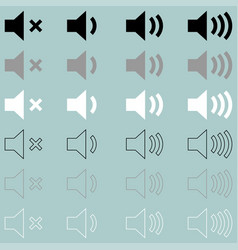 loud or speaker white grey black icon loud or vector image vector image